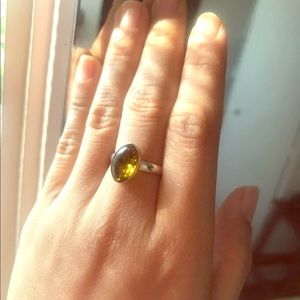 Jewelry - Green yellow Baltic amber sterling silver ring
